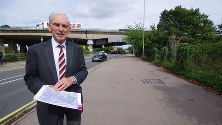 Cllr Peter Downes on Brampton Road which he believes will become more congested