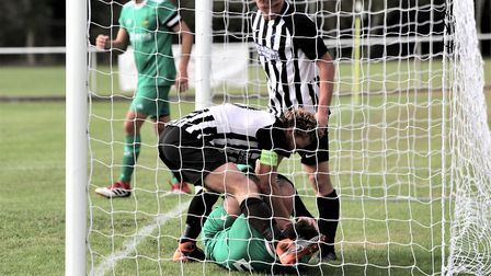 Colney Heath fought back to draw 2-2 with Leverstock Green in the SSML Premier Division. Picture: Ji