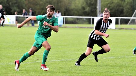 Harvey Scott in action during Colney Heath's 2-2 draw with Leverstock Green in the SSML Premier Divi