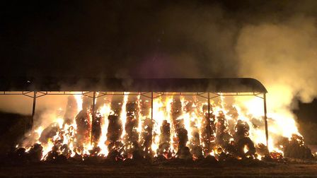 The fire at the farm in Sandridgebury Lane. Picture: Herts Fire and Rescue Service