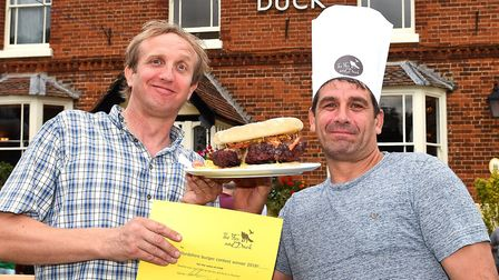Fox & Duck landlord Ivan Titmuss with Steff Cimino, winner of the burger eating contest. Picture: Fo