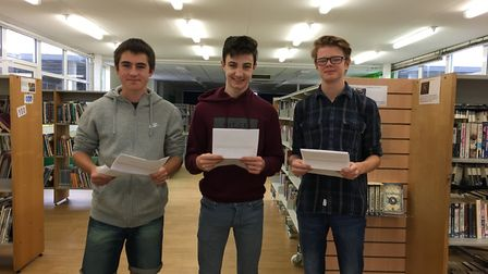 Finlay Collins, Kieran Conyers and Oscar Berry with their results. Picture: Meridian