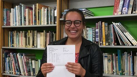 Katharine Ealand with her results. Picture: Meridian