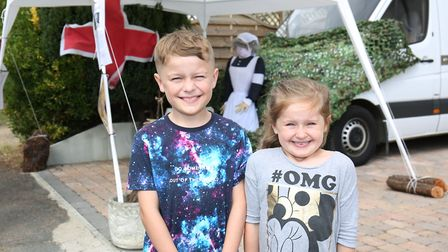 Cory, nine and Evie Reichel, six, at the Flamstead Scarecrow Festival 2018. Picture: DANNY LOO
