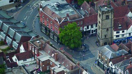 French Row and Market Place, and the 15th century Clock Tower, St Albans