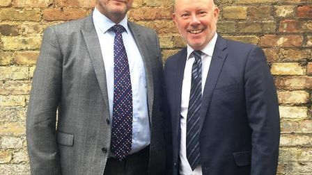 Mayor James Palmer and former chief executive Martin Whiteley, photographed after the appointment of