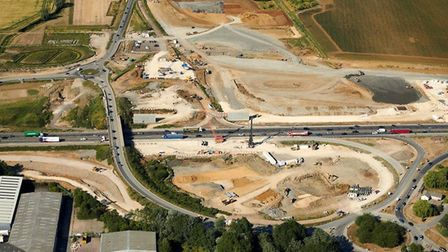 Another view of the A14 Bar Hill junction, with its ongoing redesign work – July 2018.