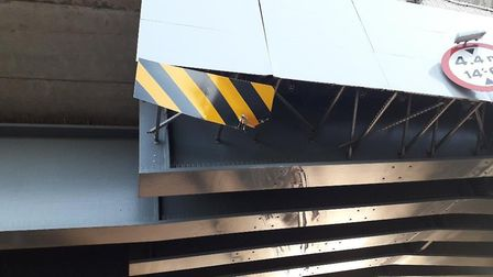 The damage caused to the viaduct by the lorry. Picture: HIGHWAYS ENGLAND