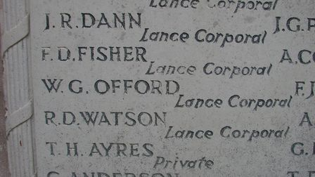Walter G Offord on the Royston war memorial. Picture: Courtesy of Alan Cecil