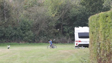 Travellers on the grounds of Cotlandswick Leisure Centre, London Colney. Picture: DANNY LOO