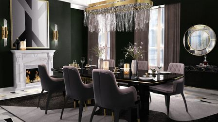 Luxxu dining: Luxxu described this glamorous monochrome blend as the perfect dining room setting. Pi