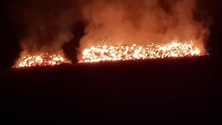 The fire, in a field between Fowlmere, Shepreth and Foxton, took hold in the early hours of Sunday