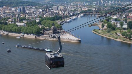 A cable car ride over the Rhine and Moselle Rivers.