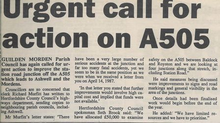 In 1995 Guilden Morden Parish Council called for action to improve the station road junction off the