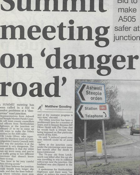 In 2009 Matthew Gooding reported on a meeting between Ashwell & Morden parish councillors and county