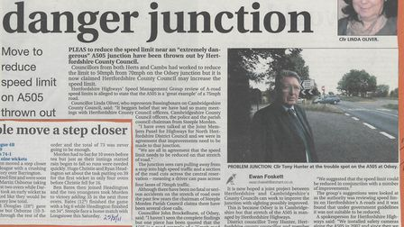 Ewan Foskett reported in 2011 that Hertfordshire County Council rejected moves to reduce the speed l