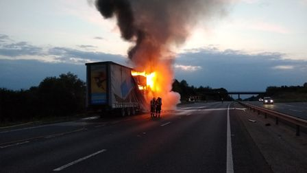 A lorry caught fire on the A14 on Monday. Picture: CFRS