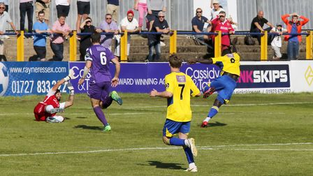 Solomon Sambou blasts St Albans City into a 1-0 lead against Dartford. Picture: LEIGH PAGE