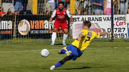 Ben Wyatt has a shot at goal against Dartford. Picture: LEIGH PAGE