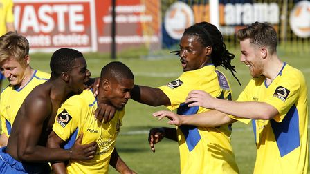 The Saints celebrate with Khale Da Costa after his spectacular free kick. Picture: LEIGH PAGE