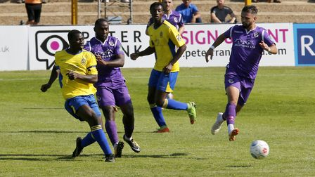 Percy Kiangebeni in action against Dartford. Picture: LEIGH PAGE