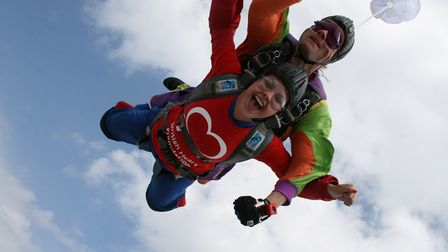 Jess Hamilton jumping out of a plane for the British Heart Foundation. Picture: British Heart Founda