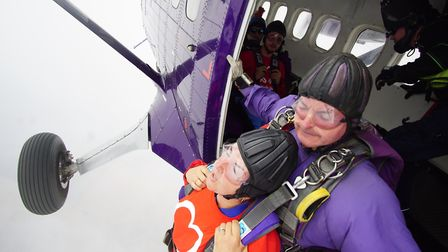 Jo Walker jumping out of a plane for the British Heart Foundation. Picture: British Heart Foundation