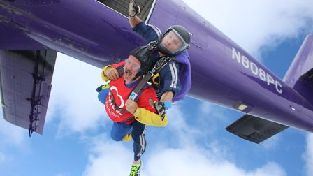 Tony Hamilton jumping out of a plane for the British Heart Foundation. Picture: British Heart Founda