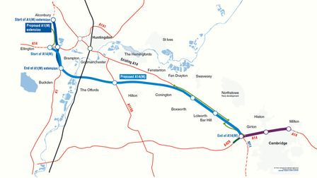 Where the proposed A14 (M) would be