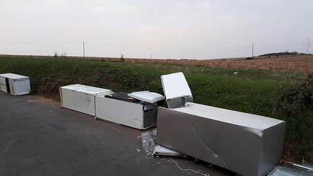 Fly-tipped fridges in Nashes Farm Lane. Picture: Graham Williams