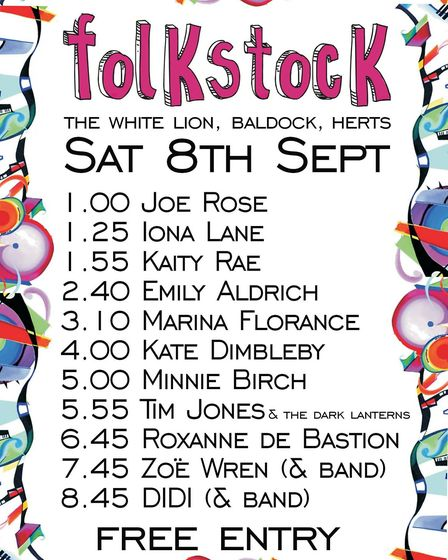 Folkstock's line-up for The White Lion in Baldock