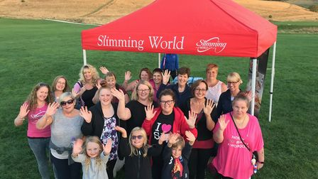 Royston Slimming World members 'walk all over cancer' on Therfield Heath. Picture: Lesley Thornalley