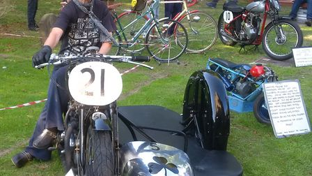 Sheelagh Neal with her 1952 650cc Triumph Road Racing Combination with which she has had some succes