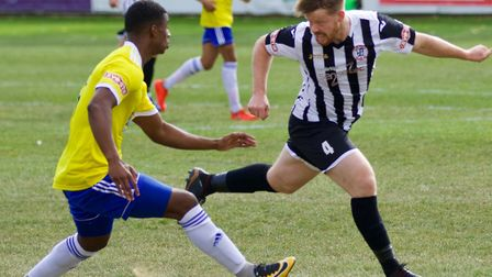 Tom McGowan in action for St Ives Town in their goalless draw against Stourbridge. Picture: LOUISE T