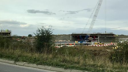 Work to install the bridges over the A14 in Huntingdonshire was completed ahead of schedule. Picture