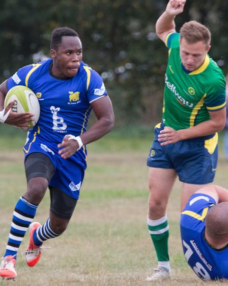 Albiee Tayedzerwa scored one of the St Ives tries as they slammed Huntingdon 57-5. Picture: PAUL COX