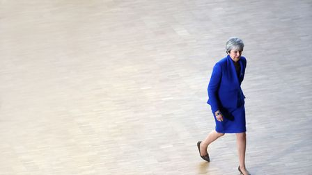 Britain's prime minister Theresa May arrives ahead of a European Council meeting. (Photograph: KENZO
