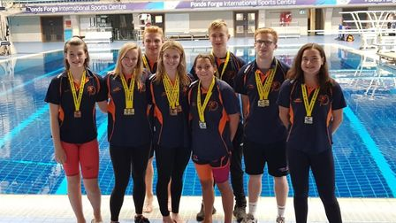 Some of the St Ives swimmers who impressed at the Robin Hood Open Meet are, from the left, Millie Ta