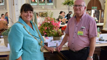 L-R The mayor of Godmanchester councillor Sarah Conboy with chairman of the Godmanchester show, Mike