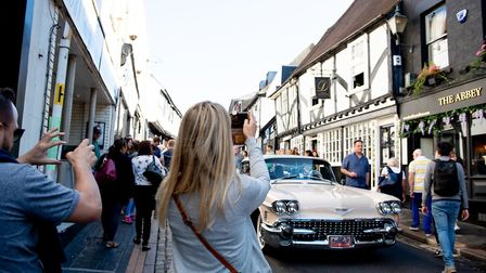 Classic cars on George Street. Picture: Stephanie Belton