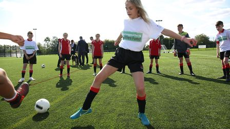 Roundwood Park pupils at the opening of the new 3G pitch at Roundwood Park School. Picture: DANNY LO