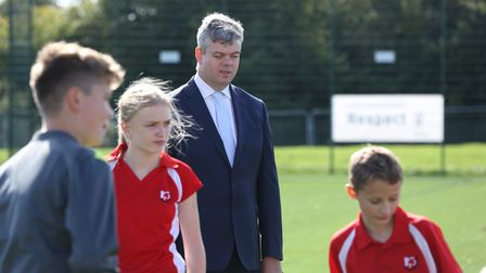 Paralympian David Clarke at the opening of the new 3G pitch at Roundwood Park School. Picture: DANNY