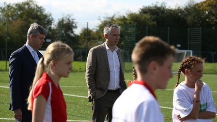 Paralympian David Clarke and former England and Arsenal player Alan Smith at the opening of the new