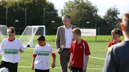 Former England and Arsenal player Alan Smith at the opening of the new 3G pitch at Roundwood Park Sc