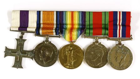 Medals awarded to Lieutenant Gerald Aubrey Bond one with an inscription from General Montgomery
