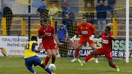 David Moyo fires the ball towards goal. Picture: LEIGH PAGE