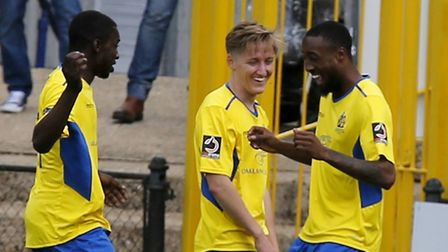 Ralston Gabriel celebrates scoring the opening goal of the game. Picture: LEIGH PAGE