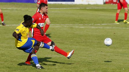 Solomon Sambou in action against Eastbourne Borough. Picture: LEIGH PAGE