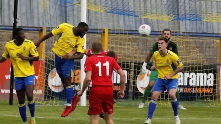 Harold Joseph heads clear. Picture: LEIGH PAGE