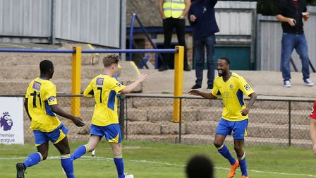Ralston Gabriel celebrates after putting the Saints ahead. Picture: LEIGH PAGE